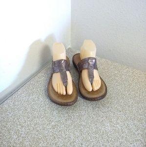 Born Zita Bronze Brown Leather Flip Flop Sandals